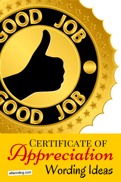 Certificate of Appreciation Wording AllWording – Sample Wording for Certificate of Appreciation