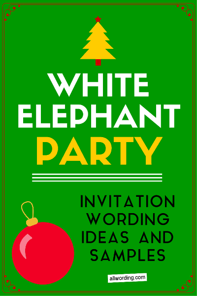White Elephant Invitation Wording AllWording – Elephant Party Invitations