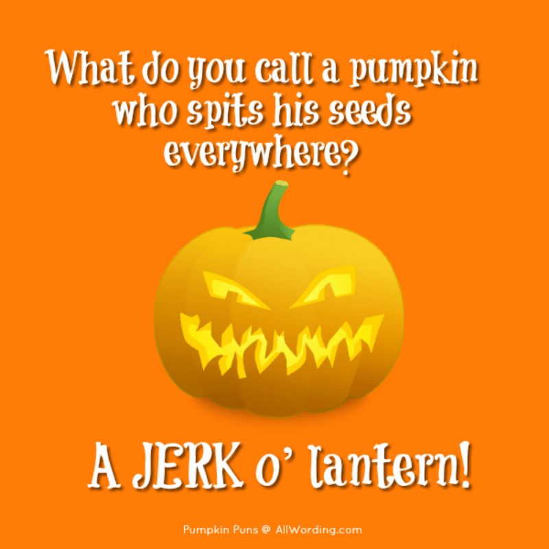 What do you call a pumpkin who spits his seeds everywhere? A jerk o' lantern!