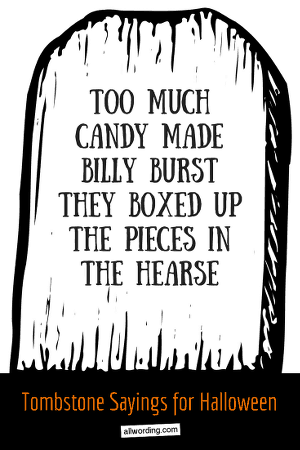 Too much candy made Billy burst. They boxed up the pieces in the hearse.