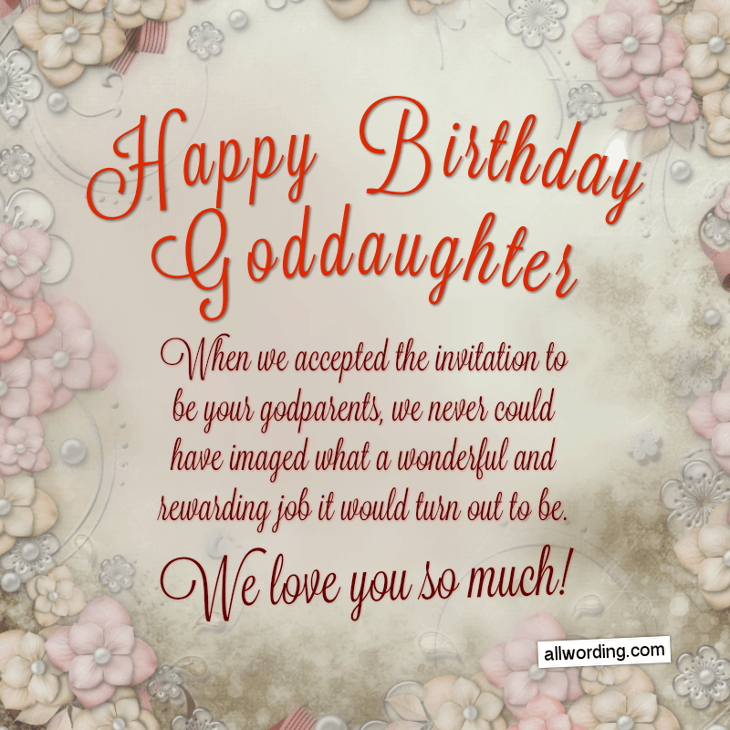 Happy Birthday, Goddaughter! When we accepted the invitation to be your godparents, we never could have imaged what a wonderful and rewarding job it would turn out to be. We love you so much!